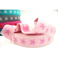 Waistband Elastic, Euro 40mm Star Pale/Light Pink