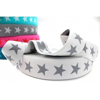 Waistband Elastic, Euro 40mm Star Light Grey/Grey