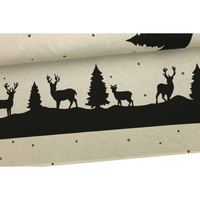 Decor Fabric, Xmas Border, Elks & Trees Natural