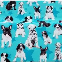 Euro Jersey, Oeko-Tex, Dog Puppies Stars Turquoise
