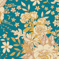 Art Gallery, Floral Universe Turquoise in RAYON