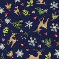 Christmas Fabric, Oeko-tex, Deers & Mistletoes Dark Blue, Extra Wide