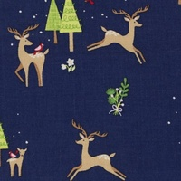 Christmas Fabric, Oeko-tex, Deers Dark Blue, Extra Wide
