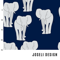 Joseli Design, Organic Jersey, Elephants Dark Blue
