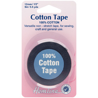 Hemline, 100% Cotton Tape, 12mm x 5m, Black