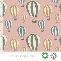Elvelyckan Design, GOTS Organic Jersey, Air Balloon Dusty Pink