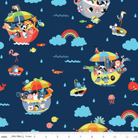 *REMNANT 58cm* Riley Blake Designs, Noah's Ark Main Navy
