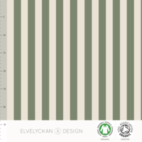 Elvelyckan Design, GOTS Organic Jersey, Vertical Stripes Green
