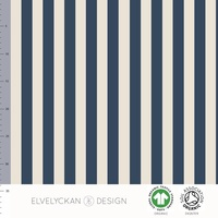 Elvelyckan Design, GOTS Organic Jersey, Vertical Stripes Dark Blue