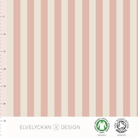 Elvelyckan Design, GOTS Organic Jersey, Vertical Stripes Dusty Pink