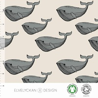 Elvelyckan Design, GOTS Organic Jersey, Whales Creme