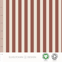 *REMNANT 67cm* Elvelyckan Design, GOTS Organic French Terry, Vertical Stripes Rusty