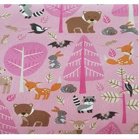 European Cotton Elastane Jersey, Oeko Tex, Playing Animals Pink