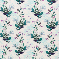 European Cotton Elastane Jersey, Oeko-Tex, Watercolour Leaves