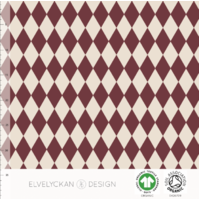 Elvelyckan Design, GOTS Organic French Terry, Harlequin - Wine