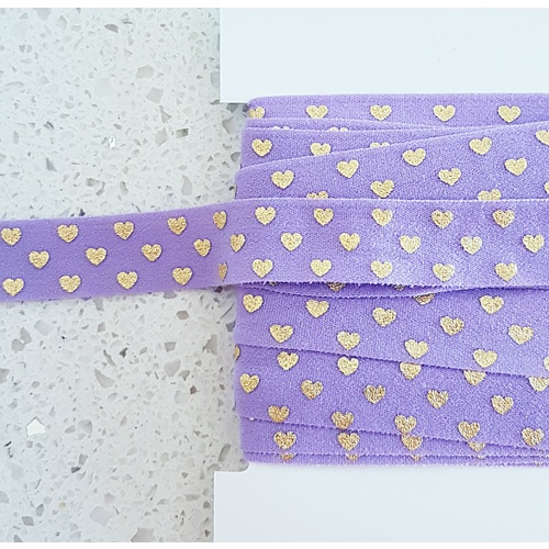 Soft Foldable Elastic, Euro 15mm, Hearts Purple