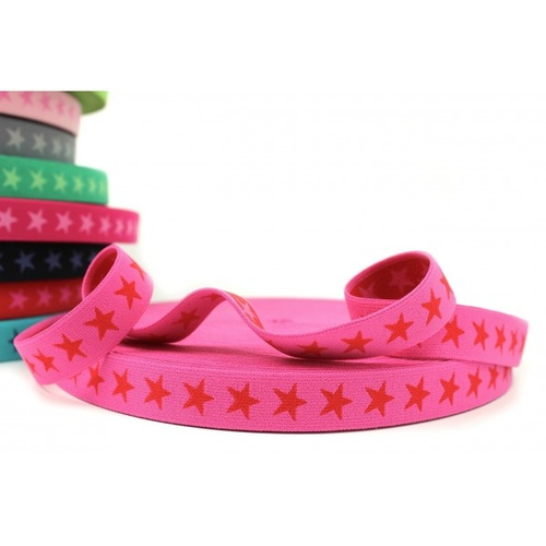 Waistband Elastic, Euro 20mm Star Dark Pink/Red