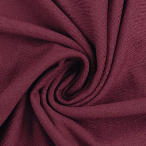 European Cotton Elastane Jersey, Solid, Oeko-Tex, Burgundy