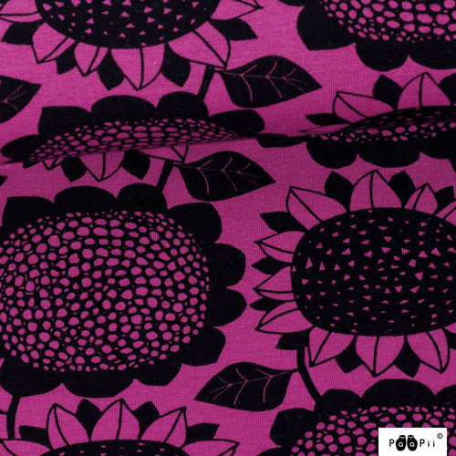 PaaPii Design, Organic GOTS French Terry, Sunflower Purple