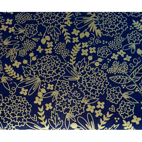 Riley Blake Designs, On Trend, Floral Navy Metallic Gold Sparkle