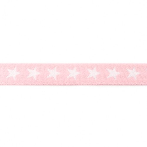 Waistband Elastic, 40mm Stars Pale Pink White