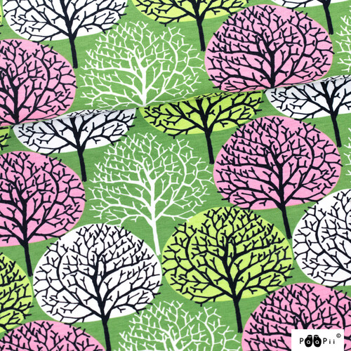 PaaPii Design, GOTS Organic Jersey, Seasons Forest Light Pink Apple