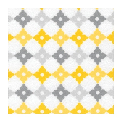 Robert Kaufman, Yellow & Grey Medallions, Flannel